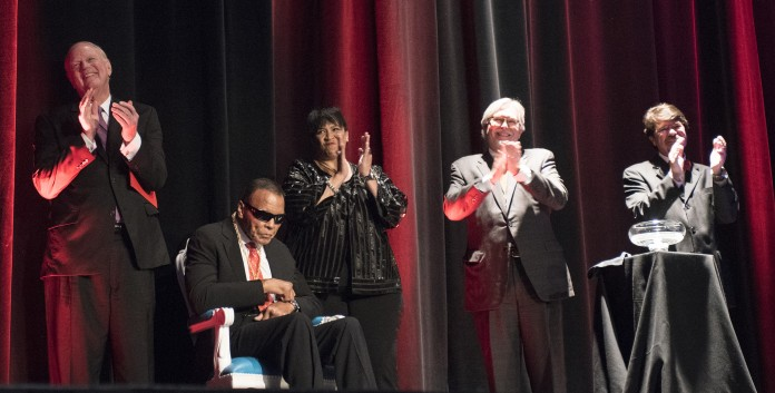 Muhammad Ali at the Louisville Palace on Sept. 17, 2015 after receiving the Grawemeyer Spirit Award.