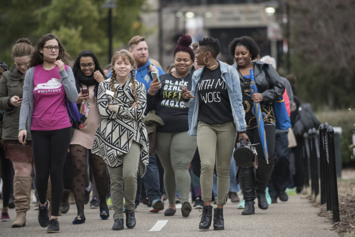 UofL's inaugural Unity Week kicked off with a March on Grawemeyer.