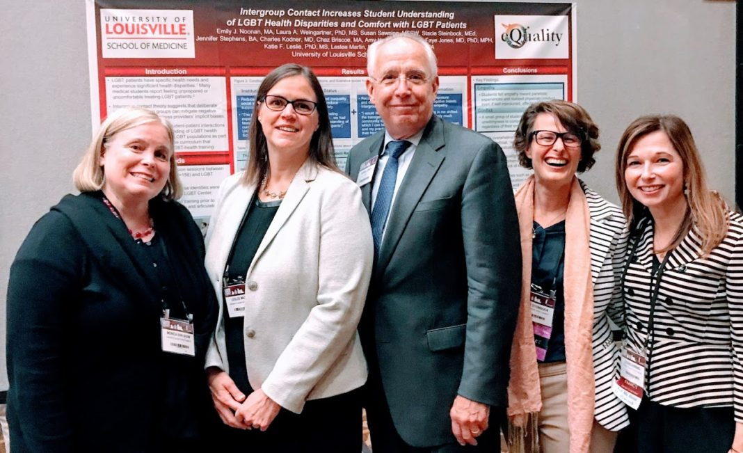 Members of the eQuality steering committee Monica Ann Shaw, M.D., M.A., Leslee Martin, M.A., Stacie Steinbock, M.Ed., and Susan Sawning, M.S.S.W., with Darrell Kirch, M.D., president and CEO of AAMC (center)