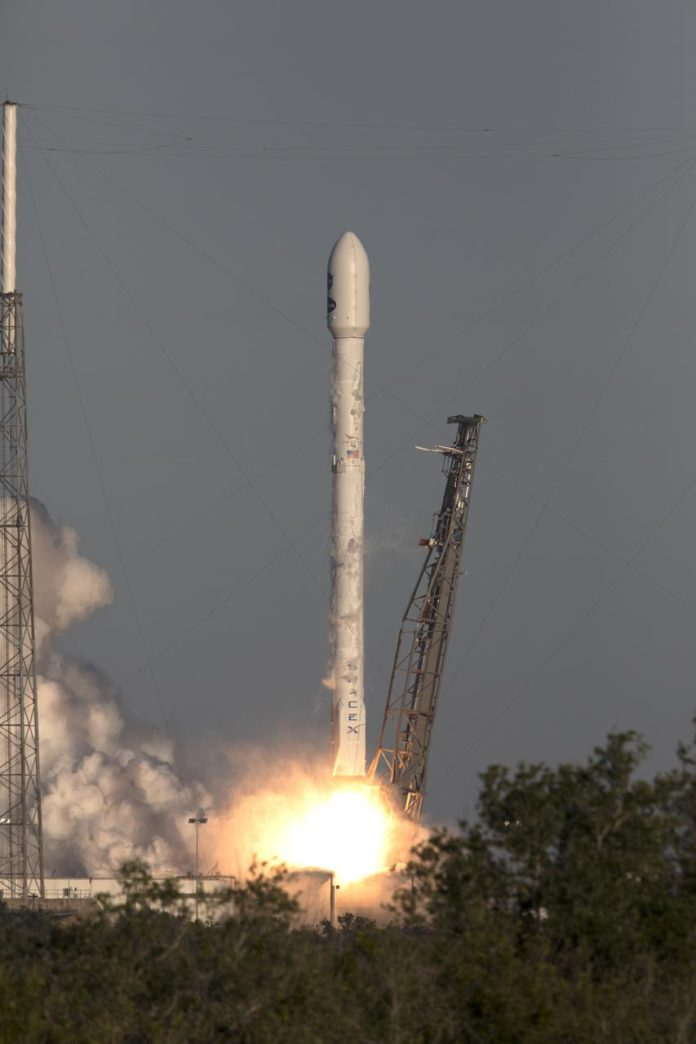 A SpaceX Falcon 9 rocket lifts off from Space Launch Complex 40 at Cape Canaveral Air Force Station in Florida, carrying NASA's Transiting Exoplanet Survey Satellite (TESS).