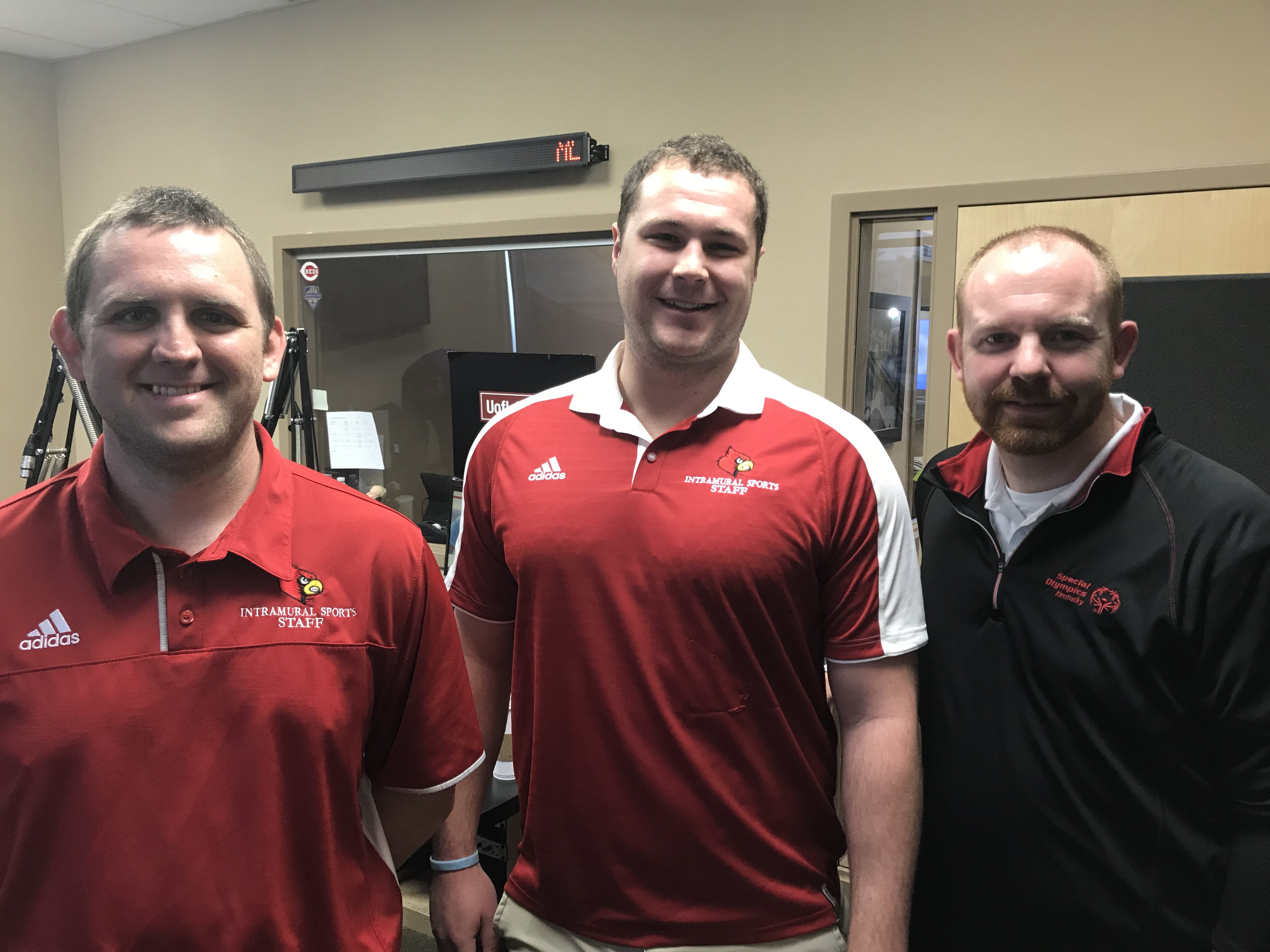 L to R – Justin Peterson – UofL Intramurals – Asst. Director; John Hower – UofL student; Justin Harville – Special Olympics