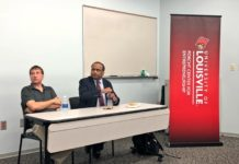 Drs. Thad Druffel (left), of Bert Thin Films and Mahendra Sunkara (right), of Advanced Energy Materials LLC, spoke at the pilot event of ShareIt, where UofL researchers share their experience with research commercialization.