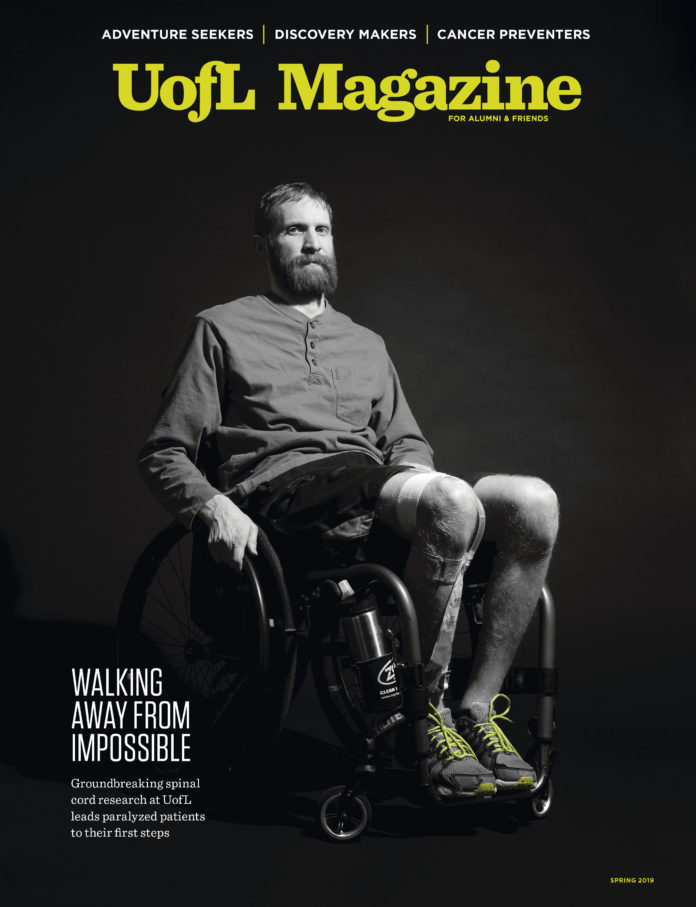cover of the spring 2019 issue of UofL Magazine featuring patient Jeff Marquis in a wheelchair