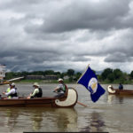 River City Paddlesports crews and volunteers arrive in Louisville June 9 at the end of their nine-day voyageur canoe and camping trip from Portsmouth, Ohio. The Afloat event was part of an effort to establish an Ohio River Recreational Trail.