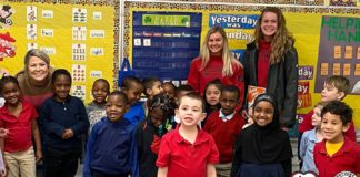 80 UofL student-athletes participated in Read Across America week to promote children's literacy.