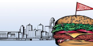 image of a hamburger in front of the Louisville skyline