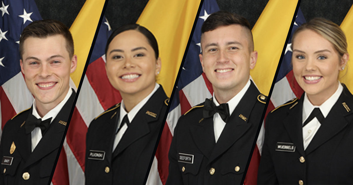 Four Cardinal Battalion Army ROTC cadets are among the Fall 2020 University of Louisville graduates participating in this year's virtual commencement.