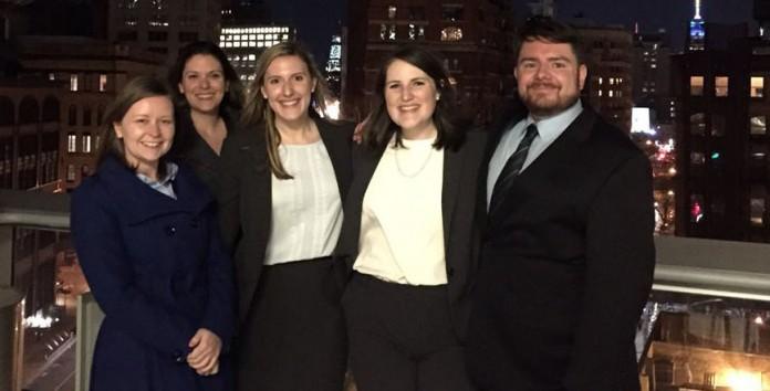 From left: Carolyn Purcell, Emily DeVuono (coach), Megan Diffenderfer, Kellie Money and Ben Basil (coach).