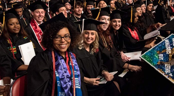 Spring 2016 graduates were all smiles during the May 14 commencement event.