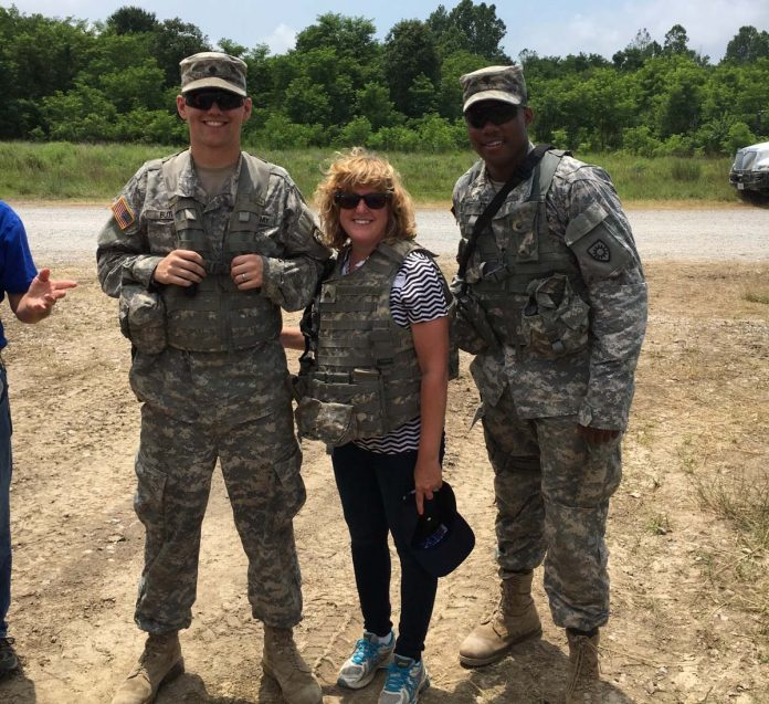 Brandeis School of Law Dean Susan Duncan (center) recently participated in Boss Lift Day, sponsored by the Employer Support of the Guard and Reserve program of the U.S. Department of Defense.