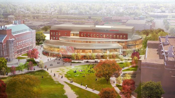 Rendering of the new Belknap academic building, aerial view.