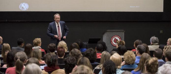 Interim President Dr. Greg Postel hosted budget forums on both the Belknap and HSC campuses.