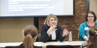 Human Rights Advocacy Program students participate in a community roundtable event.