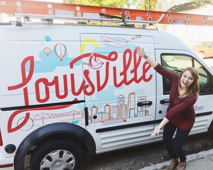 Ashley Trommler, a Hite alum, shows off her design for the Google Fiber installer vans.
