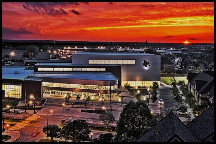 Student Rec Center at Sunset.