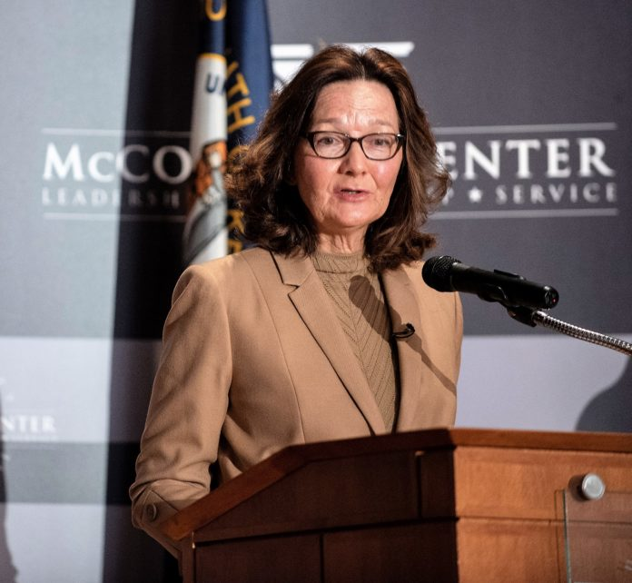 CIA DIrector Gina Haspel addresses an audience on UofL's Belknap Campus.