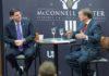 Israeli ambassador Ron Dermer (left) is interviewed by Scott Jennings during a McConnell Center event.