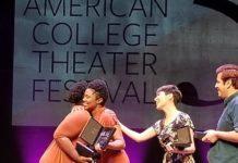Theatre Arts students LaShondra Hood and Kala Ross accepting the distinguished National Irene Ryan Acting Award in Washington, DC