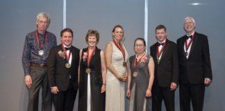 Winners of the 2019 Grawemeyer Awards were honored at April 11 gala event. L-R: Joel Bons, Robert P. Jones, Susan Randolph, Terra Lawson-Remer, Sakiko Fukuda-Parr , Kent Berridge and Terry Robinson.
