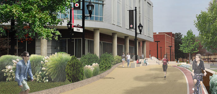 A rendering from March 2019 of the Belknap Academic Building Pedestrian Plaza, located on the southwest side of campus.