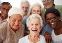 Older adults smiling together.