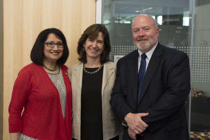 UofL president Neeli Bendapudi, 55,000 Degrees executive director Mary Gwen Wheeler and JCTC CEO Ty Handy