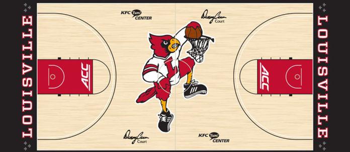 The new midcourt design at the KFC Yum! Center.