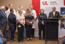 Christopher 2X Game Changers and gunshot wound survivors presented awards to the trauma teams at UofL Hospital September 5