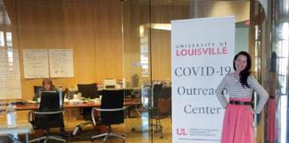 Kornhauser Assoc. Dir. of Clinical Services Jessica Petrey at the COVID-19 Outreach Center