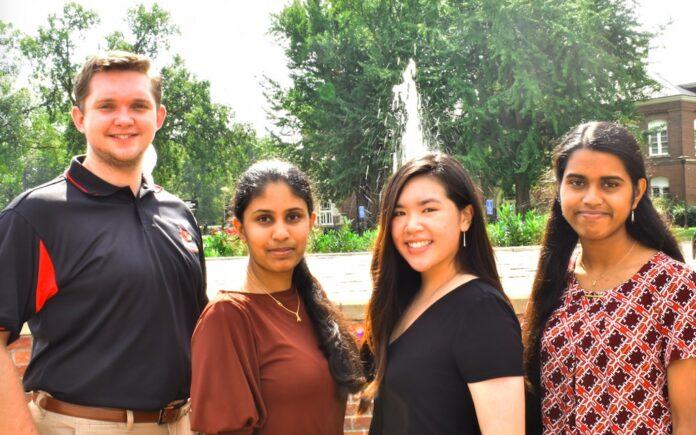 Chief editors of The Cardinal Edge, l to r, Sam Kessler, Jahnavi Sunkara, Betty Ngo and Priya Chandrashekhar
