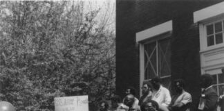 A group of Black students protest on campus in 1969.
