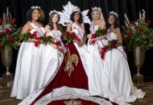 2021 Royal Court, left to right, Leah Hazelwood, Hannah Edelen, Gia Combs, Hannah Robb, Molly Jett. (courtesy of Kentucky Derby Festival)