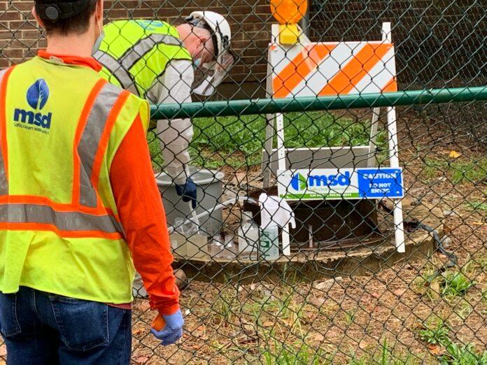 Wastewater samples taken by Louisville/Jefferson County Metropolitan Sewer District. Photo courtesy MSD.